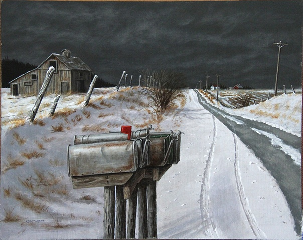 Weathered mailboxes await the arrival of the rural mail carrier on a snowy farm road.