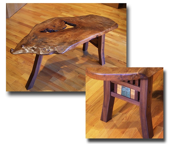 This one of a kind table has a free edge mesquite top, black walnut base, sycamore accents and a dragonfly ceramic tile inset.