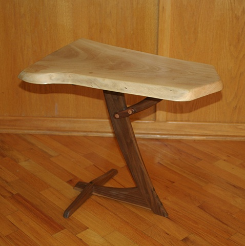 Whimsical sycamore and walnut end table.