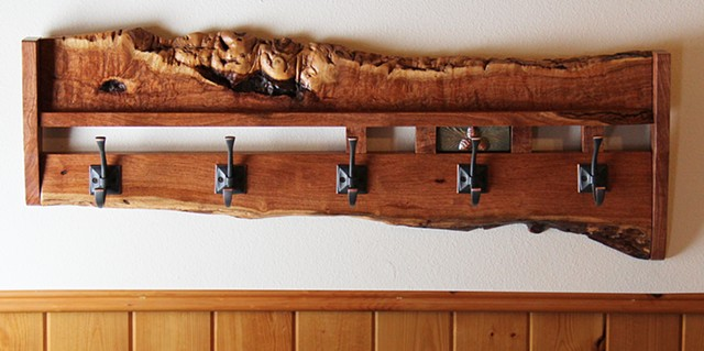 Eclectic style coatrack made from Mesquite burl, with an inset glazed terra-cotta tile.