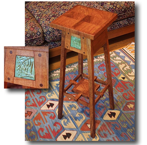 Arts & Crafts style plant stand with hand-carved ceramic tile.