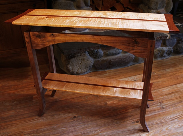 Classic console table with curly maple and Lacewood top and lower shelf, a Black Walnut.