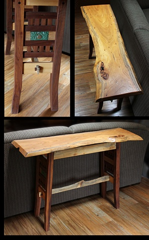 Sofa/Hallway table with free edge Elm top, walnut and sycamore base, inset ceramic tiles.