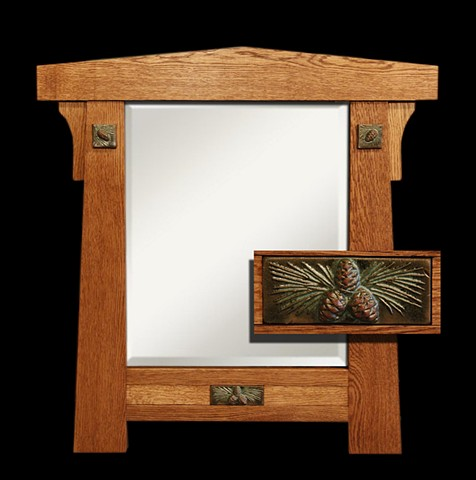 Arts & Crafts style beveled mirror in White Oak with glazed terra-cotta tiles in pine cone pattern.