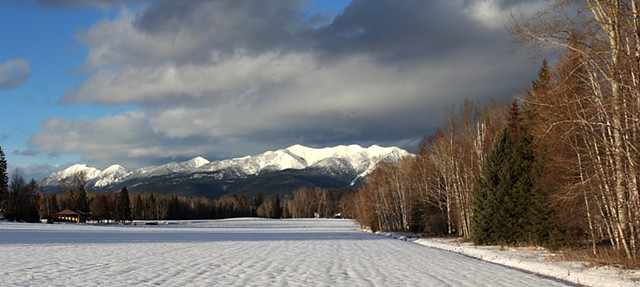 January snow covers the mountains of the Jewel Basin above the Flathead Valley of northwestern Montana.