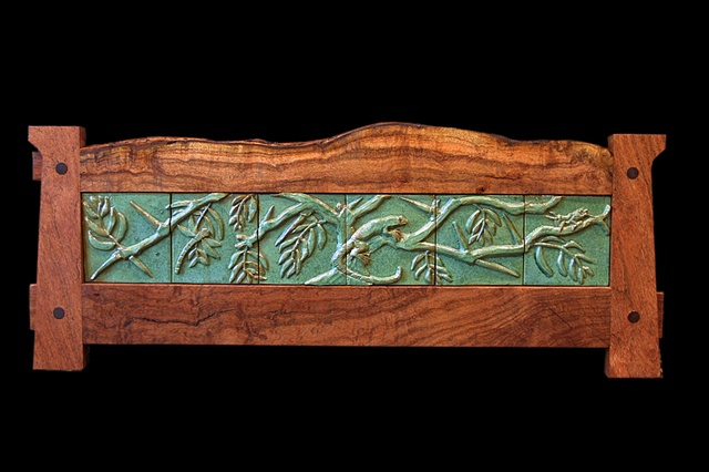 Hand-Carved ceramic tile mural with Texas Tree Lizard, Dragonfly and Grasshopper on a Mesquite Tree, in an Arts & Crafts style Mesquite frame.