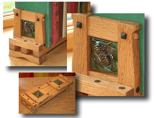 Arts & Crafts style expandable bookrack built from reclaimed white oak and hand-carved ceramic tiles.