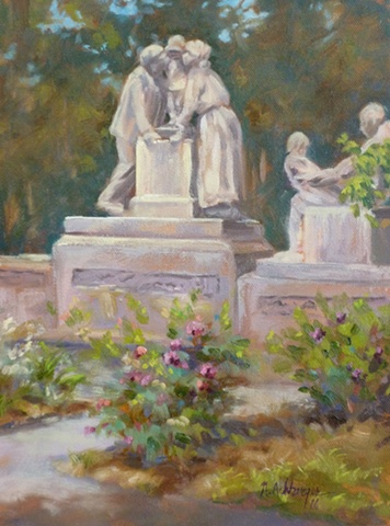 plein air painting of kissing statue in Mariemont, Ohio