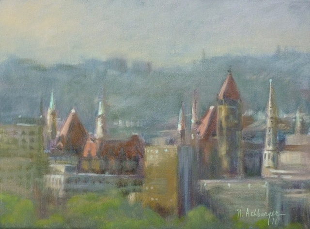 plein air painting of City Hall and church spires in Cincinnati, Ohio
