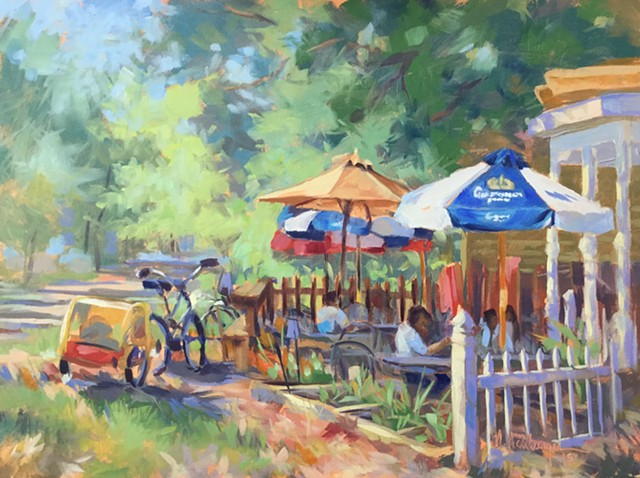 Umbrellas at cafe on Loveland bike trail