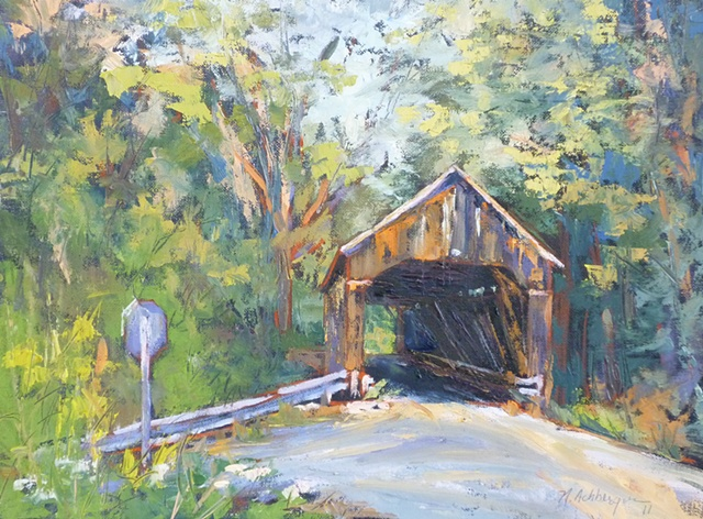 plein air palette knife painting of George Rogers Bridge in Brown County, Ohio