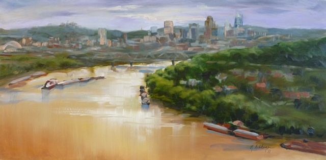plein air painting of view of Cincinnati and Ohio River from Mt. Storm Park