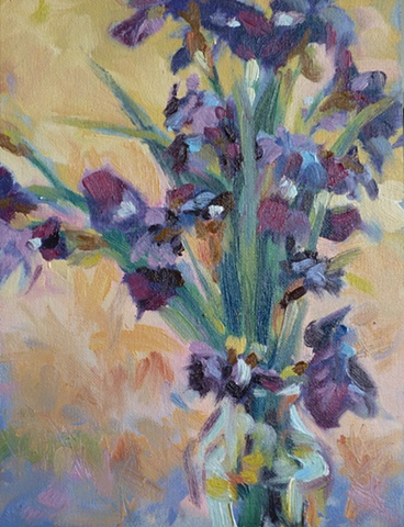 Impressionistic painting of Iris bouquet