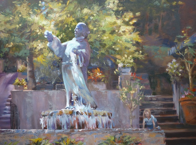 plein air painting of monk fountain in Mt. Adams, Cincinnati, Ohio