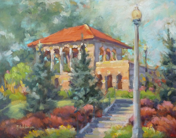 plein air painting of Alms Pavillion in Cincinnati, Ohio