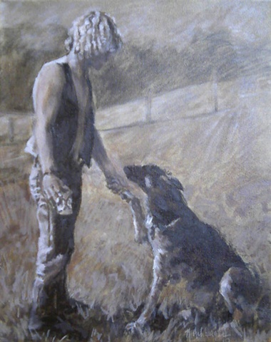 sepia oil painting commission of man and german shepherd