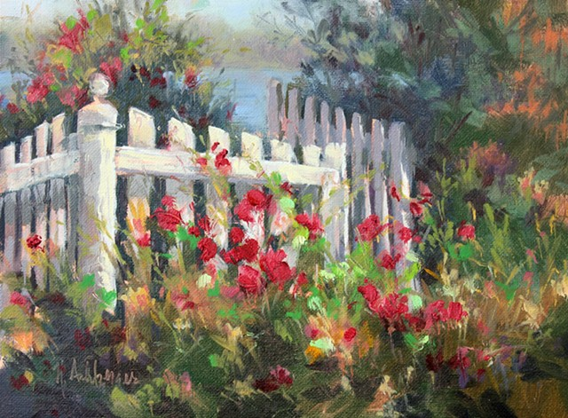 White fence and roses