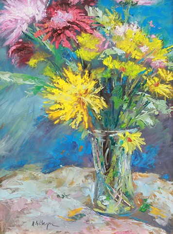 palette knife still life with mums