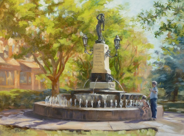 plein air painting of Kilgour Fountain on Hyde Park Square, Cincinnati, Ohio