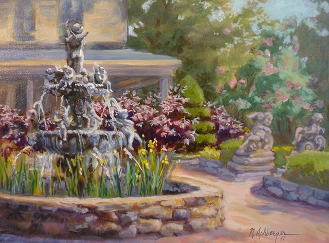 plein air painting of Ead's fountain near Loveland, Ohio