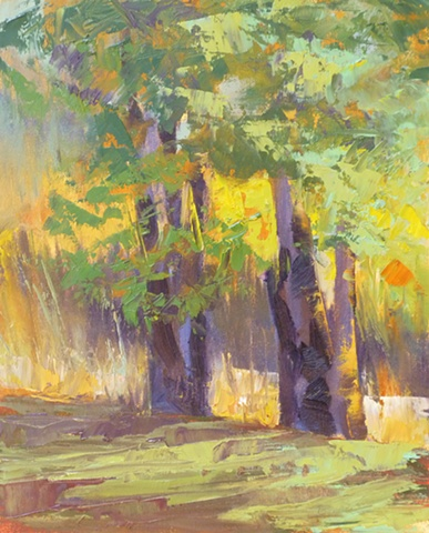 plein air palette knife landscape of trees