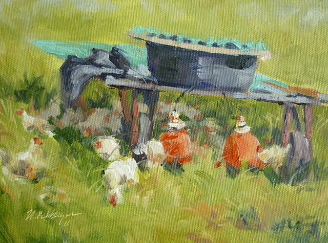 plein air painting of chickens at Turner Farm, Cincinnati, Ohio