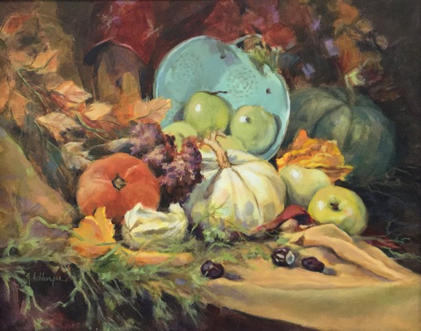 Fall still life with apples and squash
