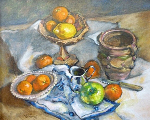 Still life with oranges in Cezanne still
