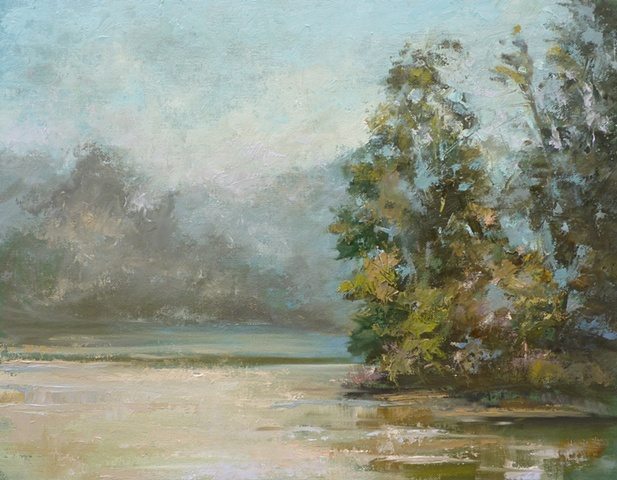 plein air palette knife painting, lake at Miami Whitewater Forest, Cincinnati