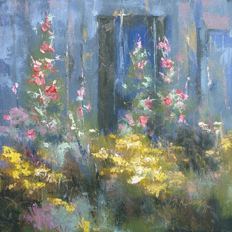 plein air palette knife painting of Hollyhocks
