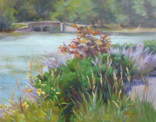 plein air painting of Sharon Lake, Sharonville, OH