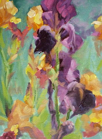 plein air painting of purple Iris