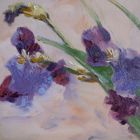 oil painting of purple Iris