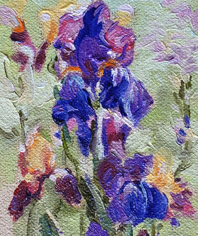 Miniature painting of purple Iris