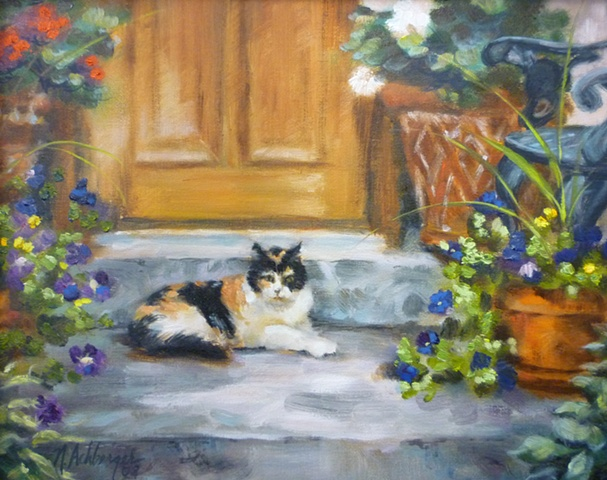 oil painting commission of calico cat