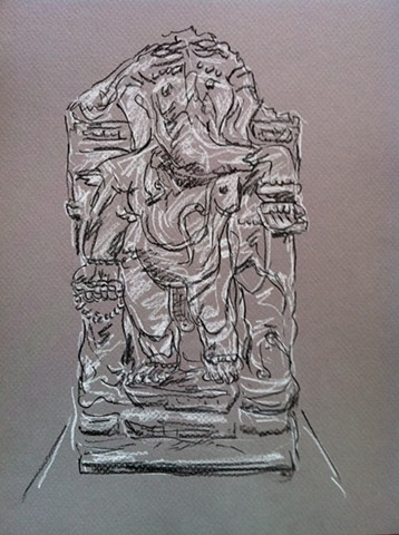 "india's statuary, Fuller Court, SAAM charcoal, 14"" x 11"", 2012"