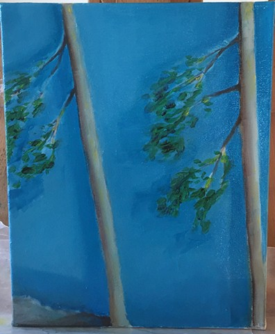 Two Trees Against a Lake (In progress)