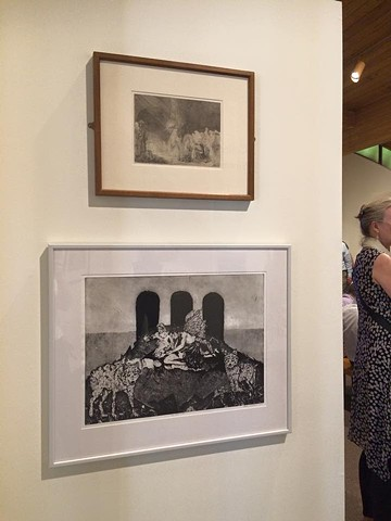 My piece, The New Life, exhibited on the same wall as an original Rembrandt. The show was a Boston Printmakers exhibition.