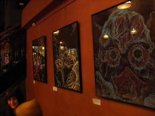 Woodcuts in my first solo exhibition in Boston, MA