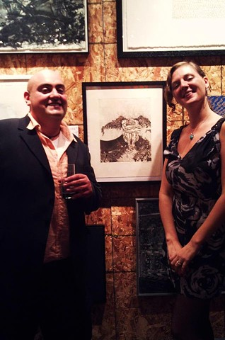 My first art auction with ARTcetera, an auction sponsored by the AIDS Action Committee. That figurative etching is the piece.   There's Maggie Cavallo again. She helped me get my entry ready. She has always been a huge supporter of my work as well as a te