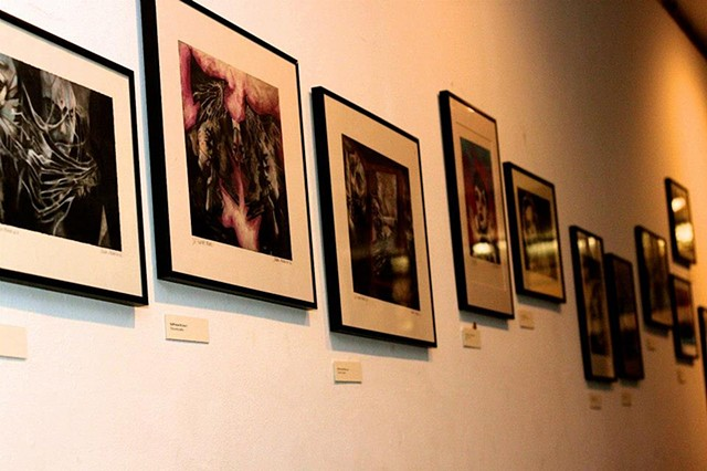 Charcoal and pastel drawings at my solo exhibition, Reflections, a show of new drawings.