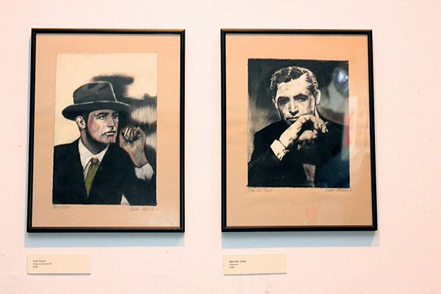 Charcoal and pastel drawings at my solo exhibition, Reflections, a show of new drawings. At the time, I was obsessed with old Hollywood.