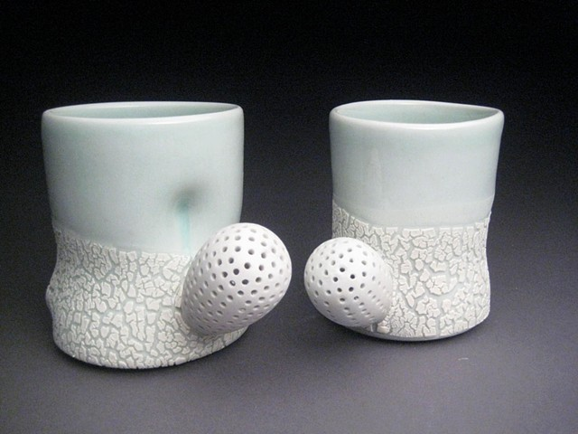 wheel thrown and altered porcelain, celadon glaze, crawl glaze