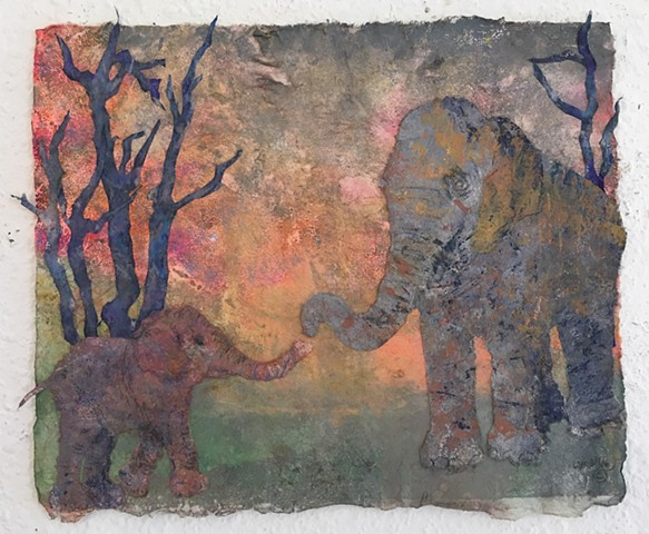 """Elephant Mother and Calf"""