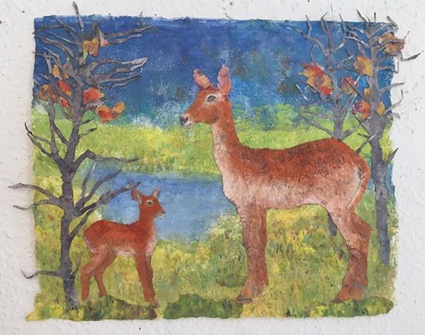 """""""Lechwe Red Antelope and Calf"""""""