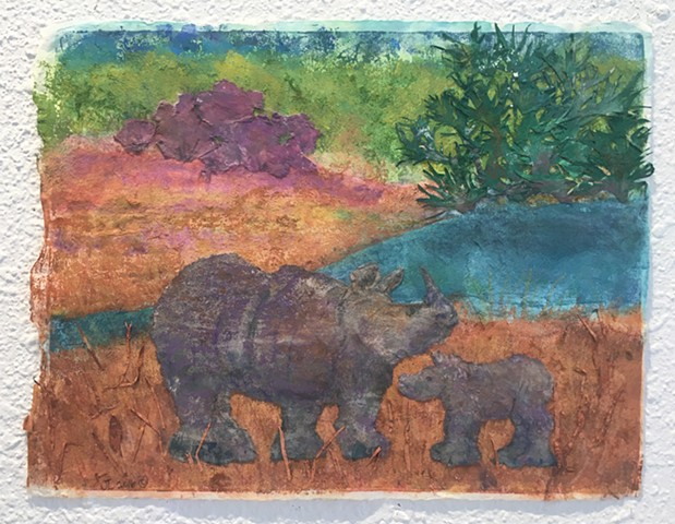 """Rhino Mother and  calf"""