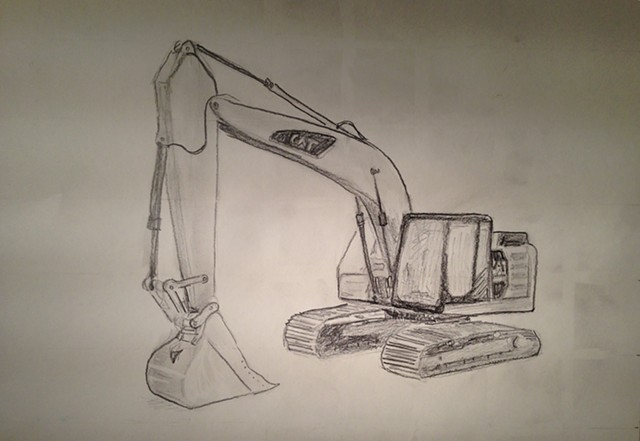 Digger drawing sketch - graphite on paper