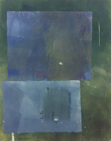 Two Blue Rectangles on a Green Landscape