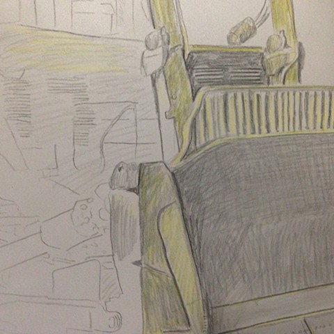 Bulldozer drawing detail in progress