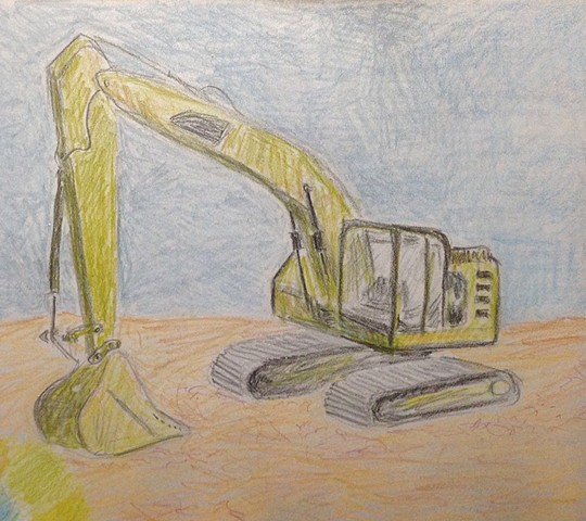 Digger drawing sketch - color pencil on sandblasted steel